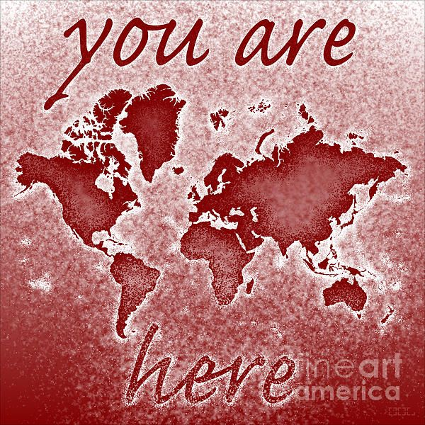 World Map Novo Square with You Are Here' text In Red by elevencorners. World map wall print decor. #elevencorners #mapnovo