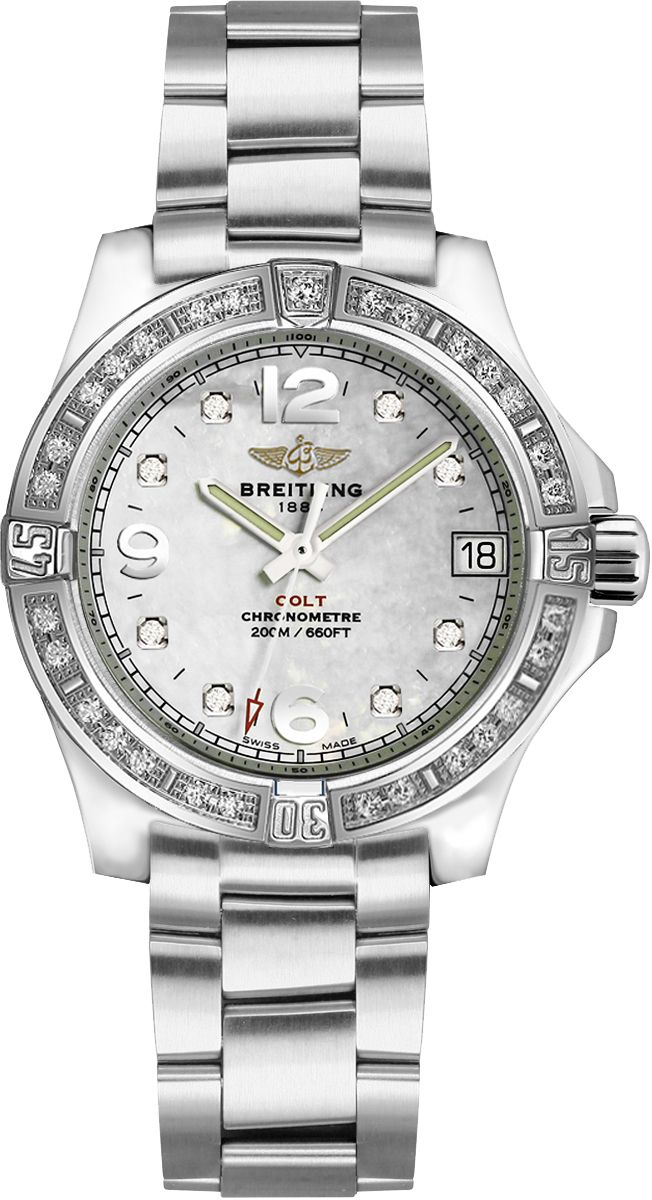 A7738853/A769-175A   BREITLING COLT LADY LUXURY WOMENS WATCH FOR SALE IN STOCK - Luxury Sales Event on All Breitling WatchesExtended Returns until January 31st, 2016   - FREE Overnight Shipping | Lowest Price Guaranteed    - No Sales Tax (Outside California)- With Manufacturer Serial Numbers- White Mother of Pearl Diamond Dial - 8 Diamonds Set on Dial- Diamonds Set on Bezel- Date Feature- End of Life (EOL) Indicator- Battery Operated Quartz Chronometer Movement- Breitling Caliber 77- 6…