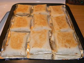 Baked Chimichangas 8oz pkg. cream cheese 8oz. Pepperjack cheese, shredded (I used taco blend) 1 1/2 Tbsp. taco seasoning 1 lb. cooked chicken, shredded 8 flour tortillas Garnish w/Shredded cheddar cheese, green onions, sour cream, salsa