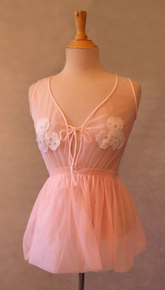 Pink Baby Doll Pyjama Top WIth Lace Appliques by LouisaAmeliaJane