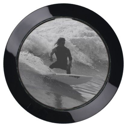 Surfing The Waves Grayscale USB Charging Station - surfing surfer surfers ocean salty hair beach love sun sports
