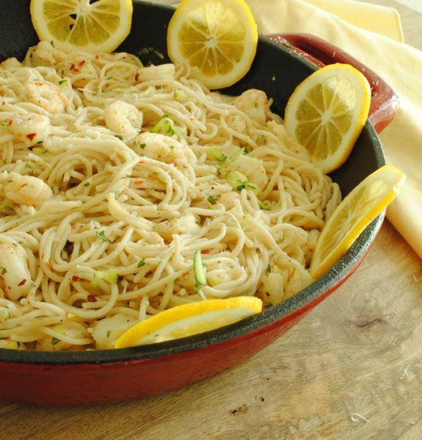 Lemon and Garlic Pasta with Shrimp