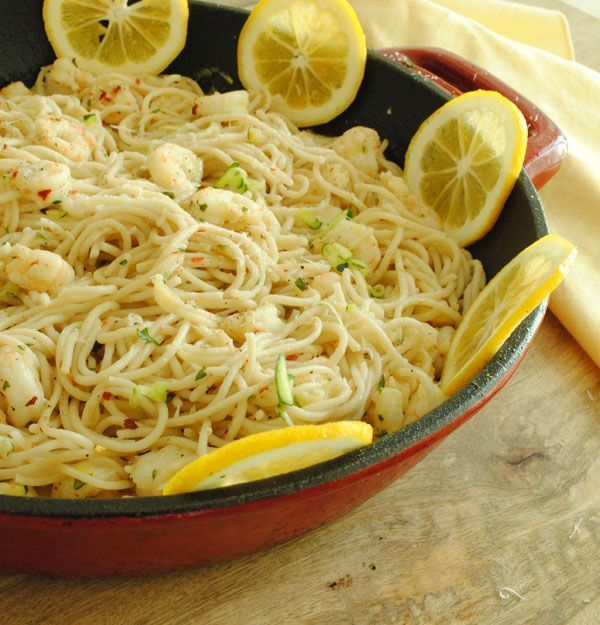 Lemon and Garlic Pasta with Shrimp
