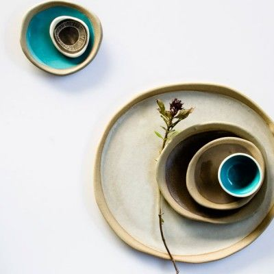 A collection of unique Australian handmade ceramic plates by Kim Wallace. Each plate is shaped and coloured entirely by hand, creating a gorgeous organic feel with no two pieces exactly the same.