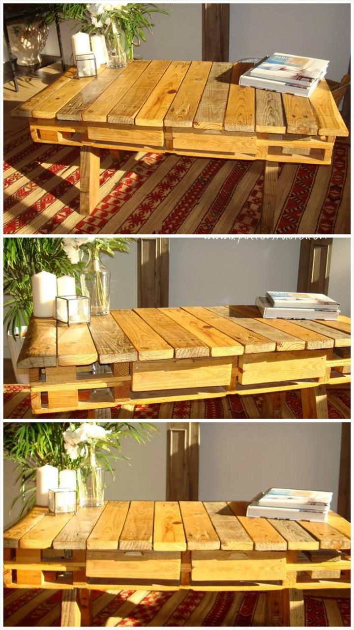 Robust Pallet Retro Coffee Table with Storage: - 130+ Inspired Wood Pallet Projects | 101 Pallet Ideas - Part 5