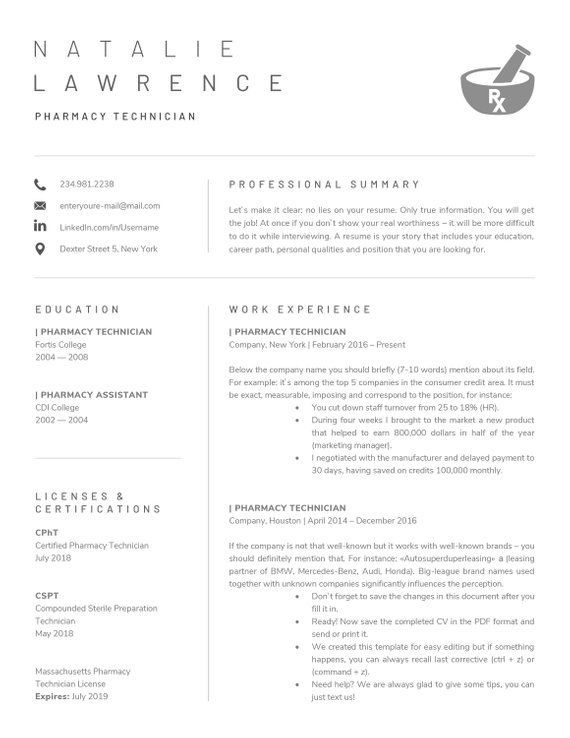 Pharmacy Technician Resume Template For Word Pharmacist Etsy Medical Resume Template Pharmacy Technician Good Resume Examples