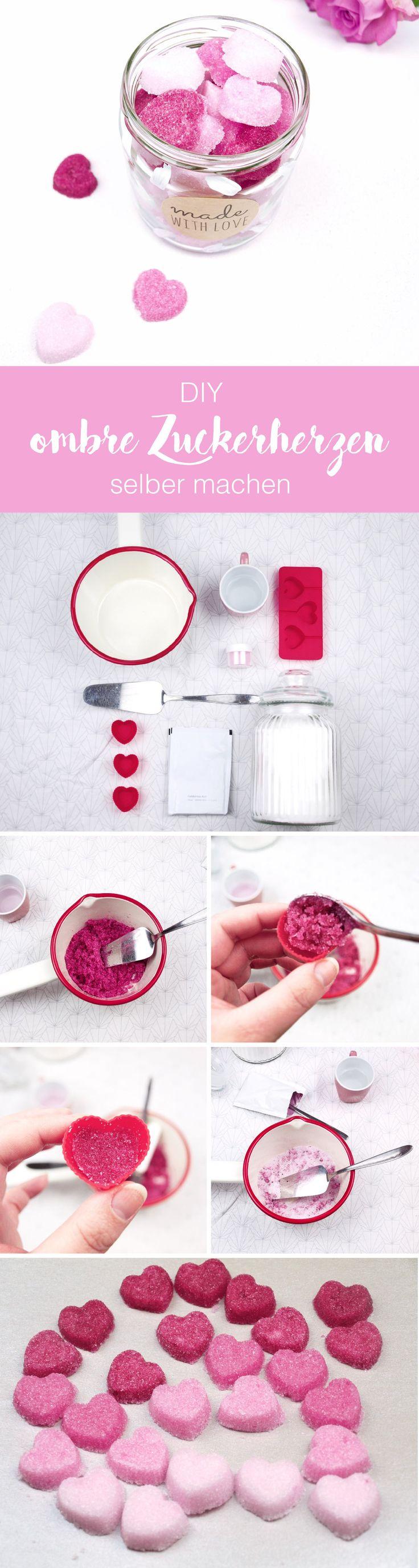DIY Geschenkidee: Ombre Zuckerherzen in pink und rosa ganz einfach selber machen.Mit Rezept und Anleitung.