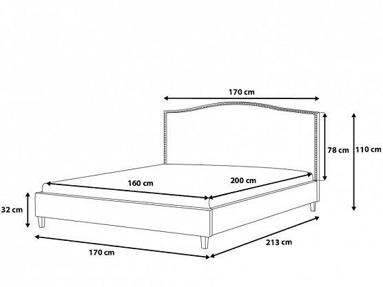 Säng grå - dubbelsäng - stoppad säng med ribbotten - 160x200 cm - MONTPELLIER ✓ Försäljning utan mellanhänder - 365 dagars ångerrätt garanti