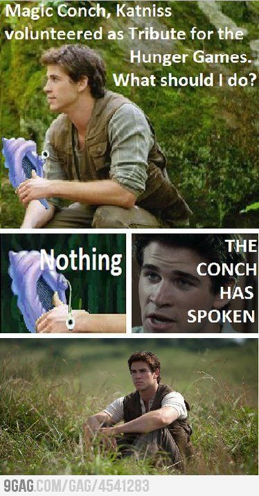 hahhaha ah spongebobShells, Bobs, The Hunger Games, Magic Conch, A Real Man, Book, Hungergames, Hunger Games Humor, So Funny