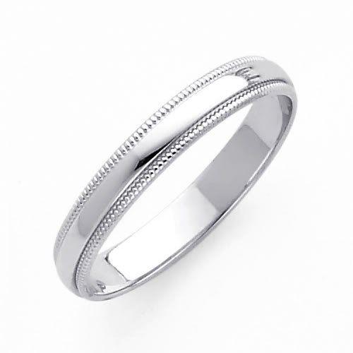 14K White Gold 3mm Plain Milgrain Wedding Band Ring For Men Women Size 4 To 12 Checklist Jmp Qv6IrK