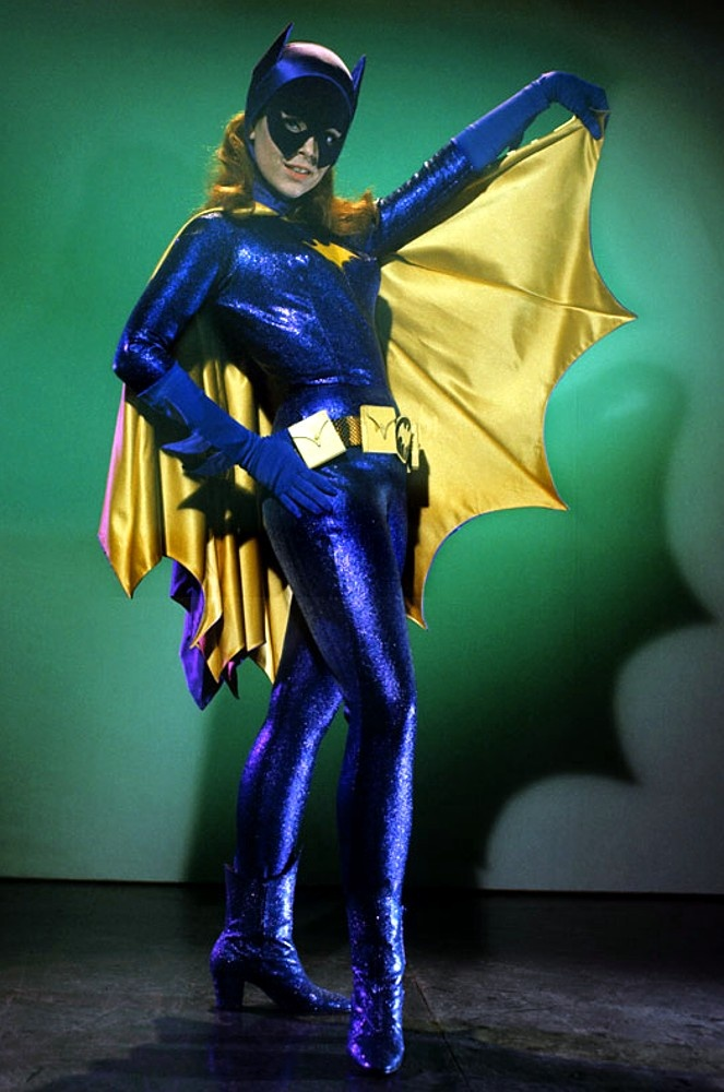 Yvonne Craig; Additionally, this isn't the finalized Batgirl outfit, as the cowl was altered from the comic book inspired cropped bottom at the cheeks, to a more rounded design to maximize Yvonne's natural facial shape and dimples.