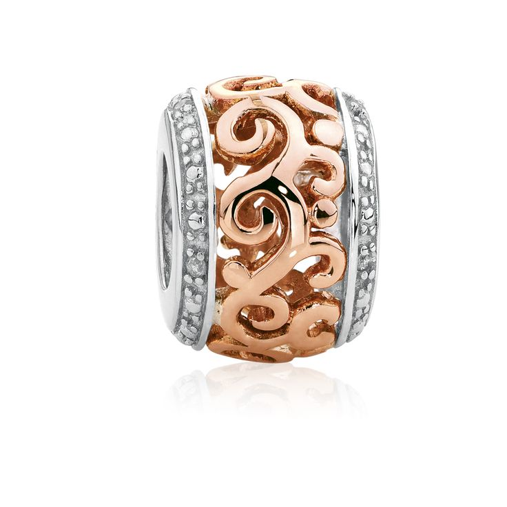 Diamond set, rose gold  sterling silver charm (11947974) #rosegold #emmaandroe
