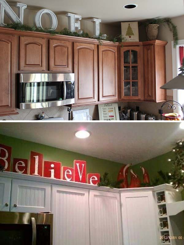 Image Result For How To Decorate On Top Of Cabinets With Vaulted Ceiling Cabin Decorating Above Kitchen Diy