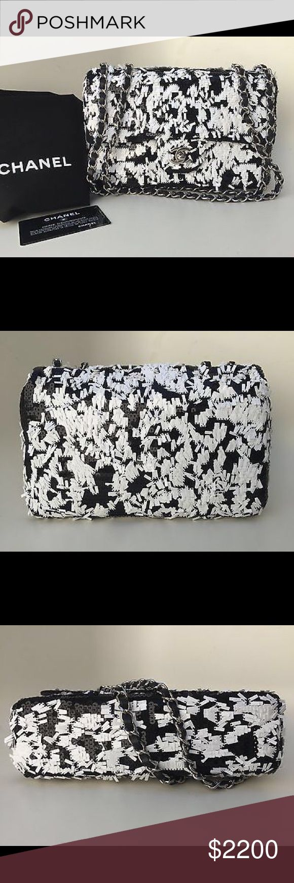 Chanel Sequin Classic Flap Bag Limited Edition Brand New 100% Authentic Chanel New Sequin Black/White Classic Flap Bag 2014 Limited Edition CHANEL Bags Shoulder Bags