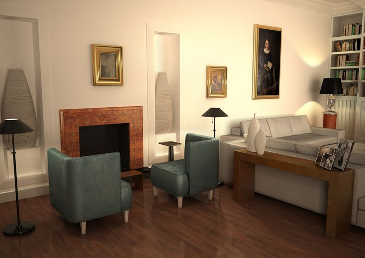 Render fotorealistico di un salotto