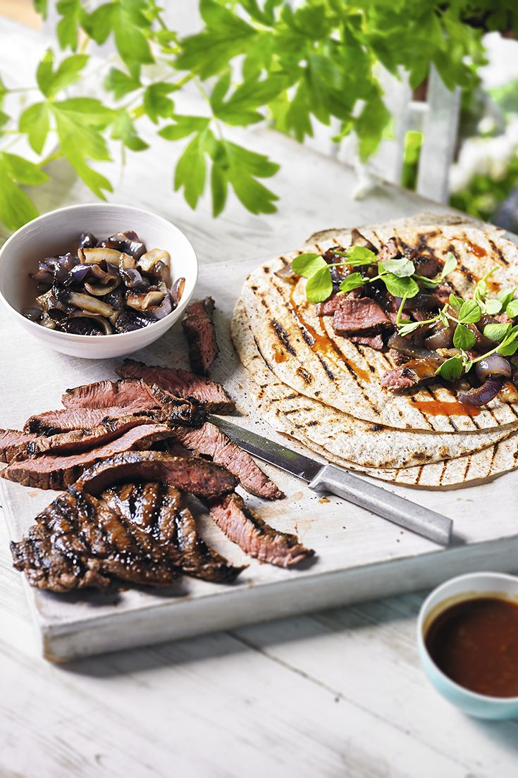 Whisky-glazed steak, sliced and wrapped in a toasted tortilla with roasted red peppers. Find more Waitrose recipes on the website.