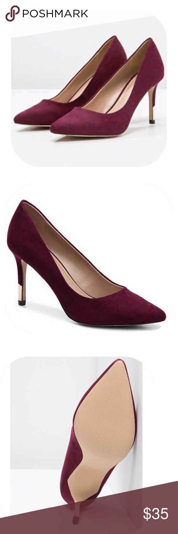 "Aldo Valezza Suede Pump in Bordeaux - Size 7.5 Only worn for a few minutes on carpet. Like new. Comes with box. Description from Aldo: Sexy, subltle and seductive all over, the original stiletto sharpens up courtesy of a metal-edged post heel. Pair it with: Nights on the town, dates and a fierce attitude. - Slip-on. - Pointy toe. - Material: Manmade Textile. - Heel Height: 3.5"" Aldo Shoes Heels"