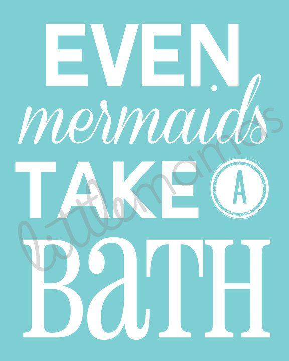 Mermaid Bathroom Printable Even Mermaids by LittleMamasPretties, $8.00