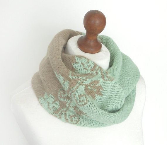 Pale Green and Beige Knit Cowl Wool Cowl by GlovesAndMittens