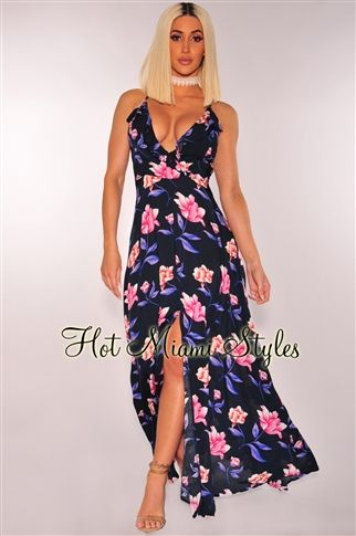 255c352213e Navy Blue Pink Floral Ruffle Lace Up Back Maxi Dress