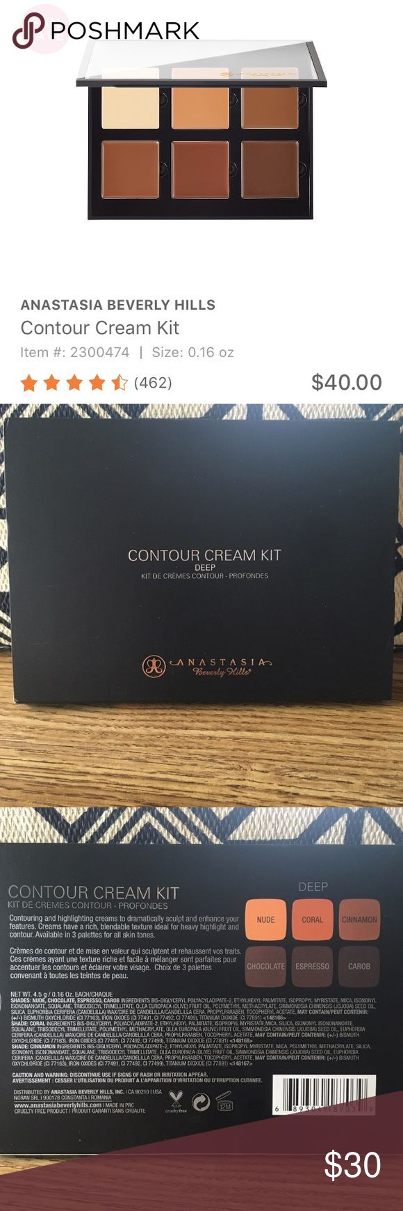 ❗️SALE❗️NIB: ABH Cream Contour kit Brand new! Only opened to take pictures. Definitely not my shade! My mom picked it up for me bc I was out and she must not have checked the shade 😂 Swatches are from online, not from me. Reasonable offers please. No trades Anastasia Beverly Hills Makeup Bronzer