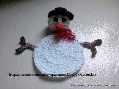 Meu Crochê Contemporâneo: Porta Copos Bonequinho de Neve