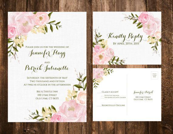 Spring Garden Wedding Invitation Set Floral By Papernpeonies