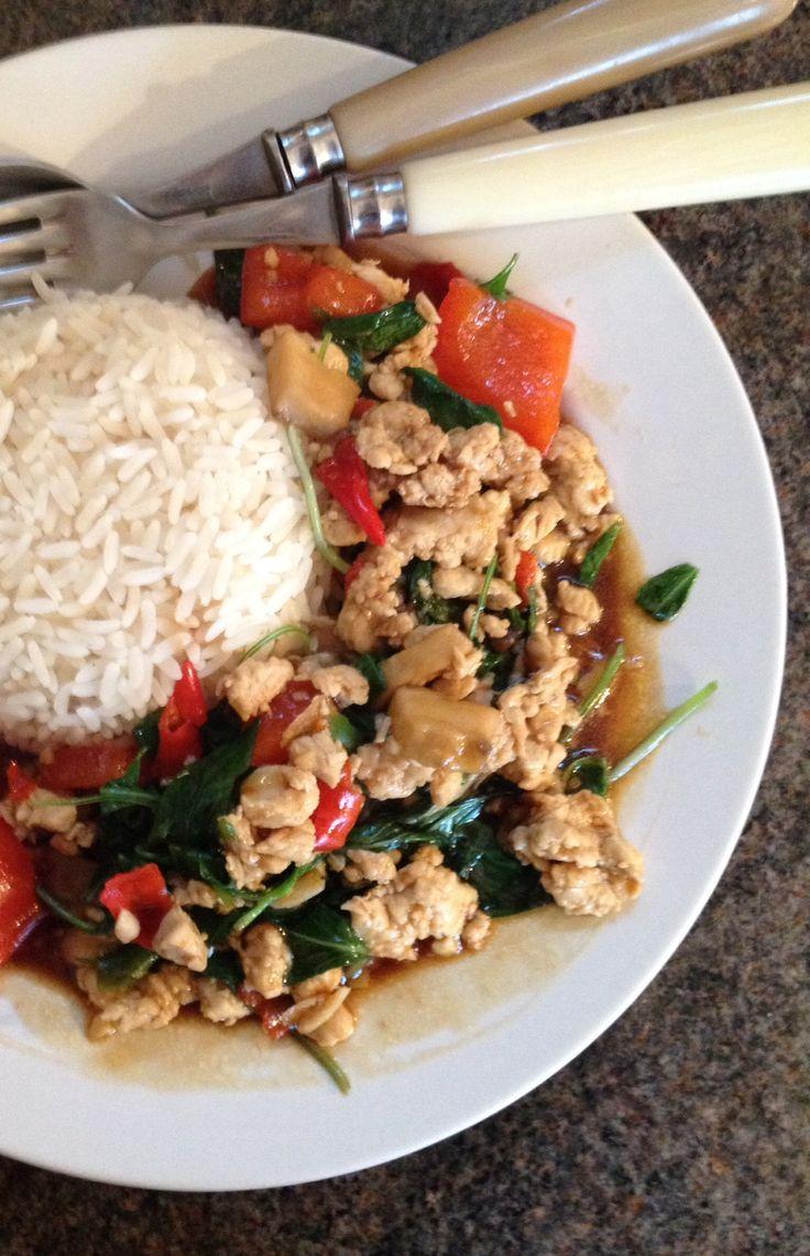 Pad krapow gai – spicy stir fried chicken with Thai basil