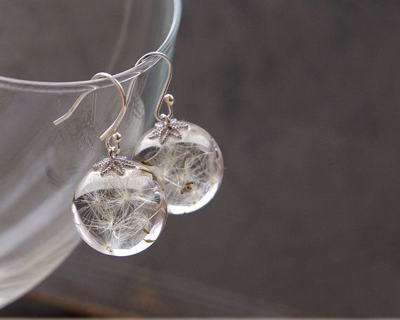 Dandelion seeds earrings  crystal resin ball by UralNature on Etsy, $52.00