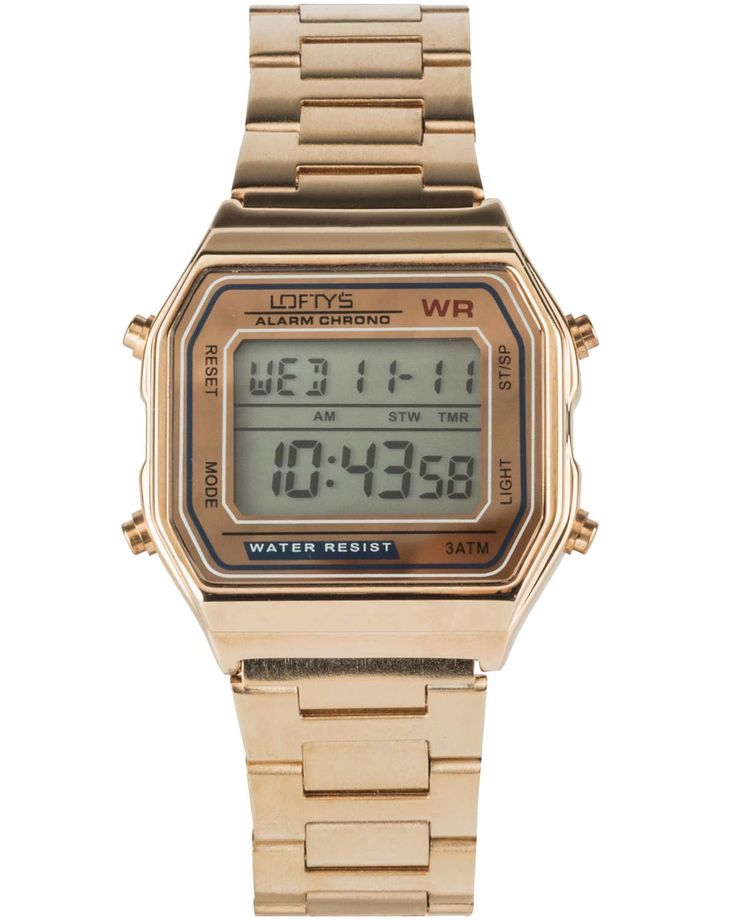 Classic Digital Watch with Rose Gold Metal Bracelet Y 2004RG - https://www.loftyswatches.com/shop/classic-digital-watch-rose-gold-bracelet/