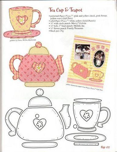Oi quem quiser me convidar para um cafézinho eu aceito, chá eu não sou muito fã, mas adoro xícaras bules e afins! Aqui alguns moldes para aplique, patchcolagem, e mais um bule lindo de tecido com m…