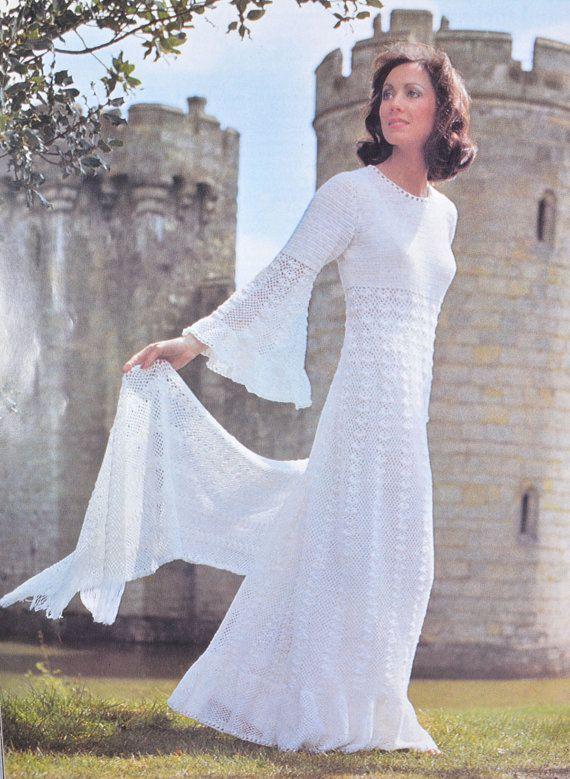 INSTANT DOWNLOAD PDF, Crochet Maxi Dress Pattern 1970s, Digital File Crochet Dress Pattern - Wedding Dress Pattern