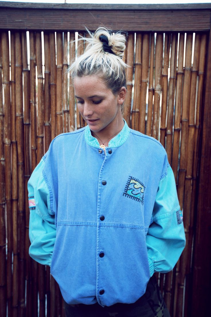 80s inspired denim billabong jacket youarewhatyouwear