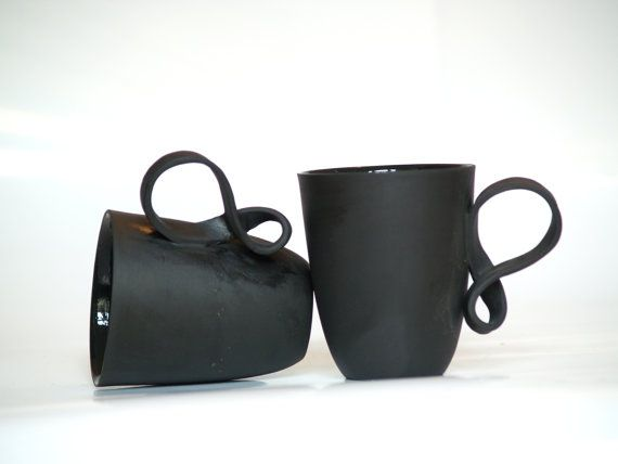 MOBIUS cups, set of two, black porcelain china mugs for coffee or tea handmade by ENDE