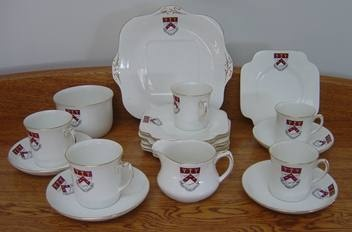 On TradeMe: Canterbury University Pre 1965 Tea Set 20 Pieces. Distinguished by the fact these have the old Canterbury College coat of arms which was superseded by the University's current cost of arms in 1965  Possibly custom made as coat of arms appears to be hand painted under the glaze...
