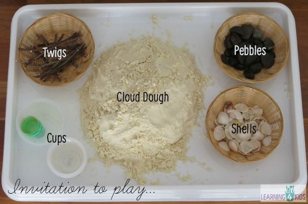 Invitation to play with cloud dough