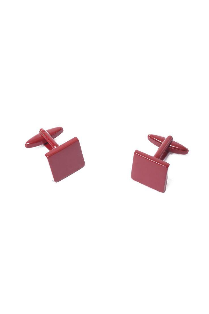 Boutons de manchettes carrés de couleur rouge / Red square cufflinks  www.tristanstyle.com
