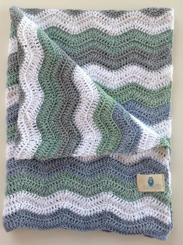 Ripple pram blanket knitted in blue, green and grey