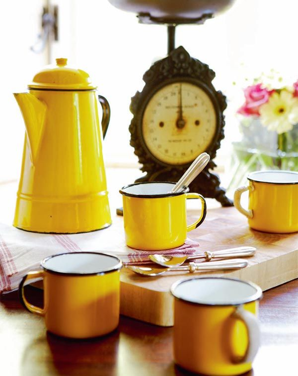 Brighten your morning with yellow enamelware coffee pot, cups and caffeine!