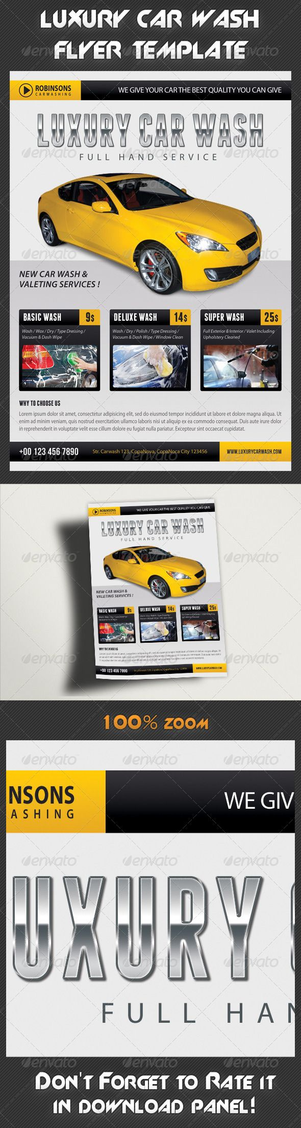 Car wash flyer 03 advertising auto clean auto detailing business