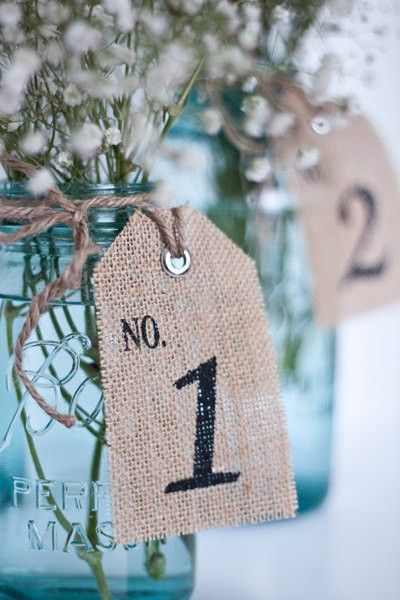 Burlap Table Number  - table number tags  - Rustic Wedding #2014 Valentines day wedding #Summer wedding ideas www.dreamyweddingideas.com