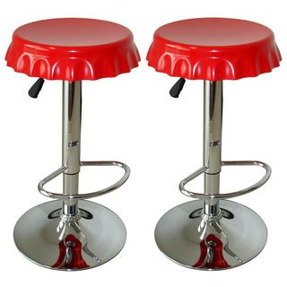 The fun and funky AmeriHome Retro Soda Cap 2-Piece Bar Stool in Blue will add some character to your kitchen, bar, game room, basement, or shop. A polished mirror-like chrome base and a soda cap shape                                                                                                                                                                                 More