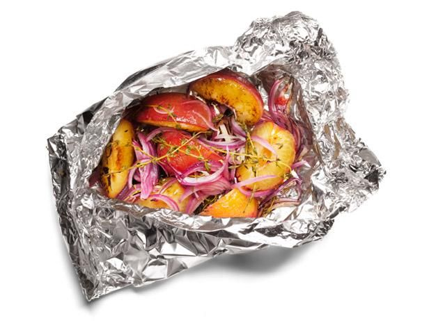 #FNMag's Grilled Plums and Onions (+ 49 other things to grill in foil) #GrillingCentral #SeasonalFood Network, Olive Oil, Red Wine, Red Onions, Slices Red, Grilled Plum, Foil Packets, 50 Things, Thyme Sprigs