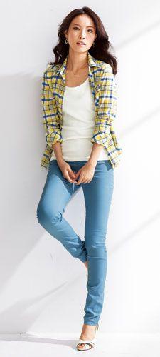 薄軽長袖シャツ+サラ薄涼感タンクトップ2枚組(UVカット)+吸汗速乾レギンス風スキニーパンツ(ヨコすご伸び)(選べる2レングス)+綺麗なラインのパンプス