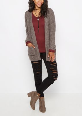 Charcoal Chunky Knit Slouchy Cardigan | rue21