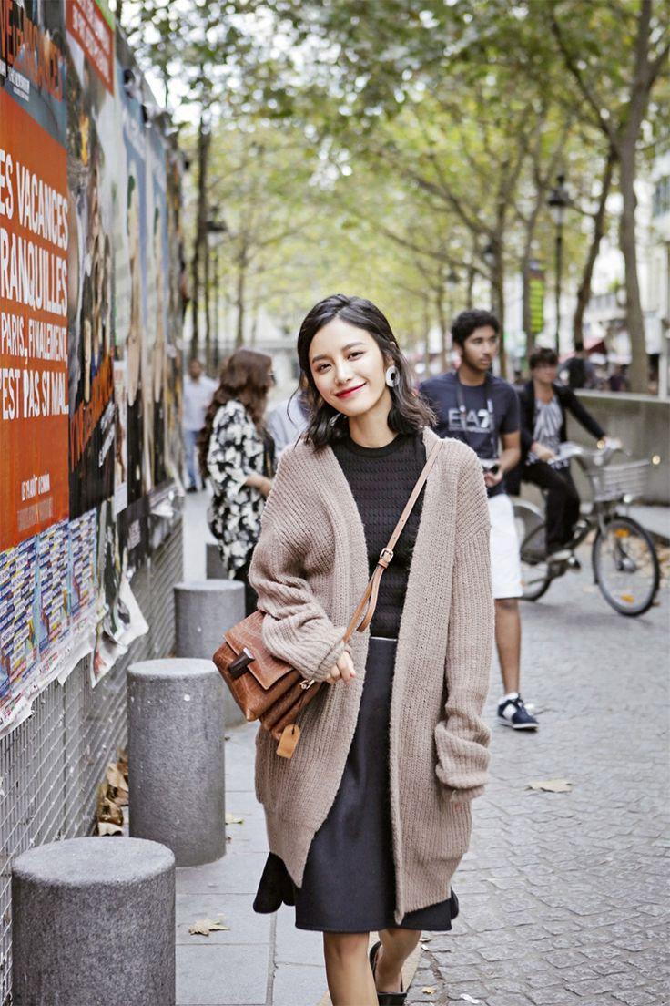 AUDREY WANG純色中長款馬海毛堆堆袖寬松針織毛衣開衫休閑外套秋-淘宝网全球站