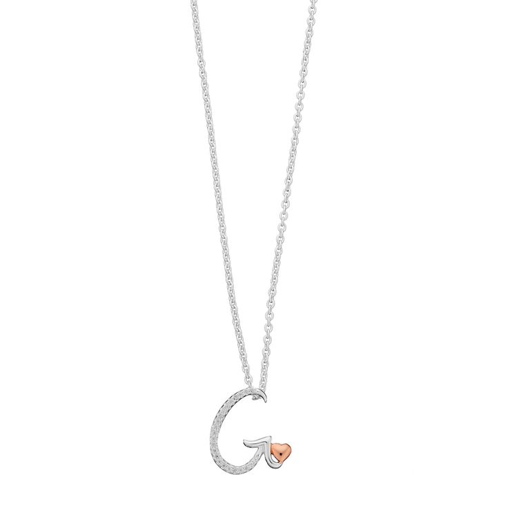 Two Tone Crystal Heart & Initial Pendant Necklace, Women's, White