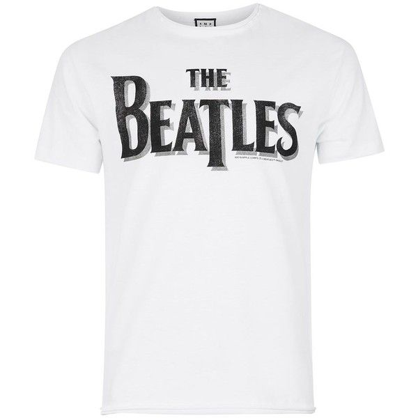 TOPMAN Amplified Beatles T-Shirt (33 CAD) ❤ liked on Polyvore featuring men's fashion, men's clothing, men's shirts, men's t-shirts, white, mens leopard print t shirt, men's white crew neck t shirts, j crew mens shirts, mens white t shirts and mens patterned t shirts