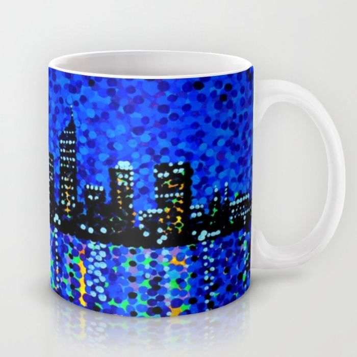 'Perth Evening Blues' Mug featuring a hand-painted on canvas image by Alan Hogan- Perth city skyline at night.  #city #skyline #skyscrapers #blue #violet #dots #pointillism #pointillists #cup #mug #Perth #australia #oz #westernaustralia