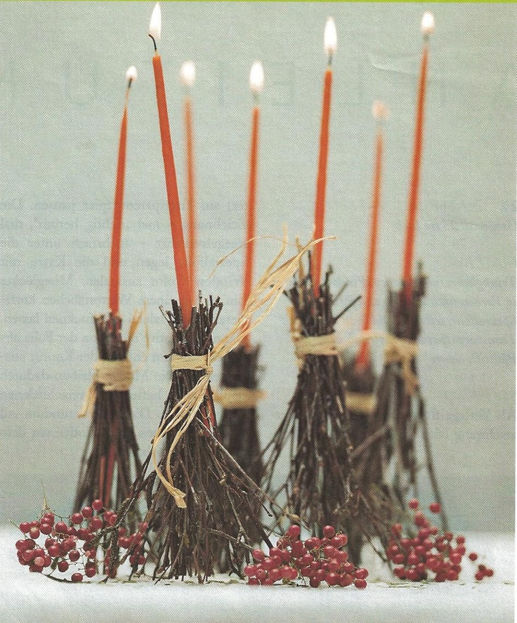broom candles witch crafts